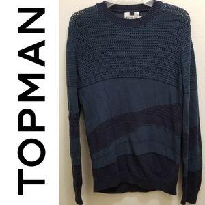TOPMAN Men's Blue long Sleeve Sweater